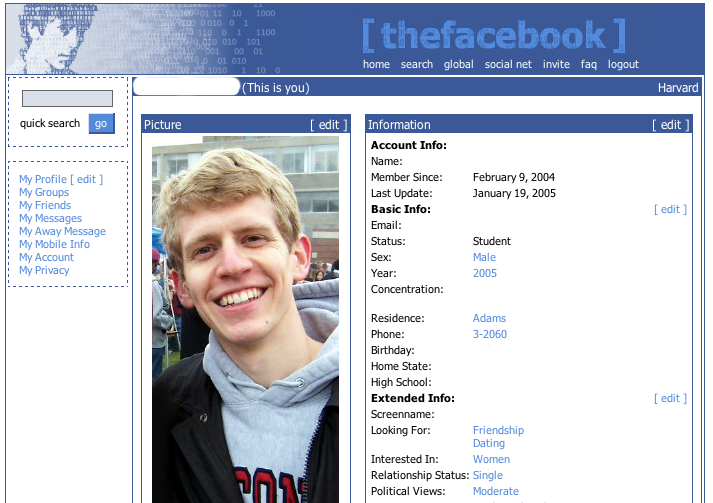 Facebook Profile, early 2005